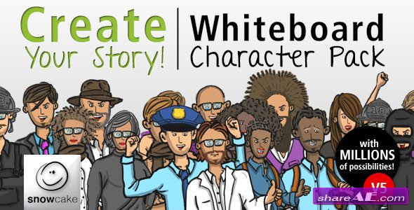 Create Your Story Whiteboard Character Pack - After Effects Project (Videohive)