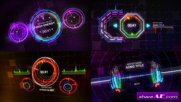 After Effects Project Elements Techno Music Visualizer