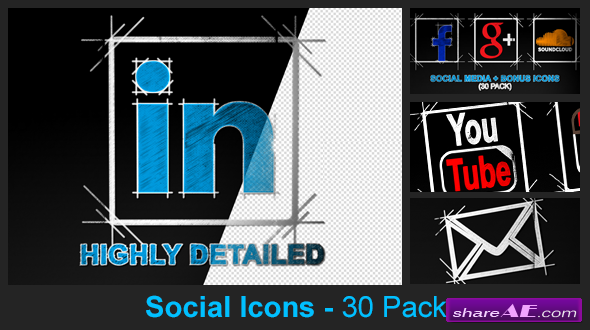 Social Media Icons - 30 Pack - Videohive