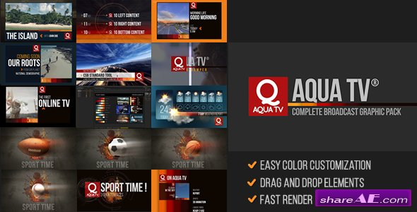 Aqua TV Broadcast Graphic Package - Videohive