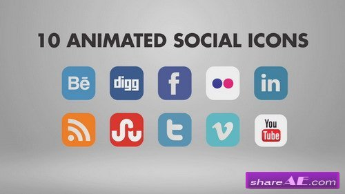 10 Animated Social Icons - After Effects Template (Bluefx)