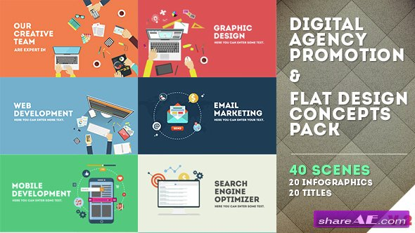 Videohive Digital Agency Promotion - Flat Design Concepts - After Effects Templates