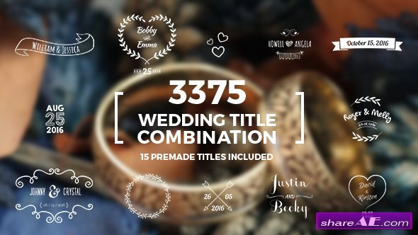 Videohive Elegant Wedding Title Combination Pack - After Effects Templates