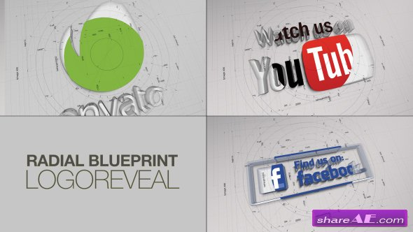 Videohive Radial BluePrint LogoReveal
