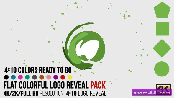 Videohive Flat Colorful Logo Reveal Pack - After Effects Templates
