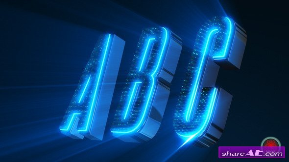 Videohive Alphabet 3D Neon LED - Abc And Social Media Icons