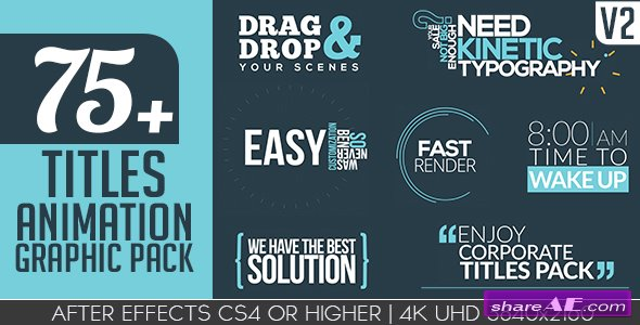 VIDEOHIVE Titles Animation Graphic Pack V2