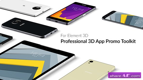 Videohive Professional 3D App Promo Toolkit for Element 3D
