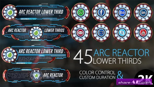 Videohive 45 Arc Reactor Lower Thirds