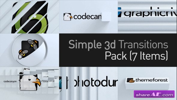 Videohive 3D Simple Transitions Pack