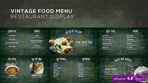 Videohive Vintage Food Menu - Restaurant Display