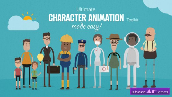 Character Design Animation Toolkit Free : Cartoon page free after effects templates