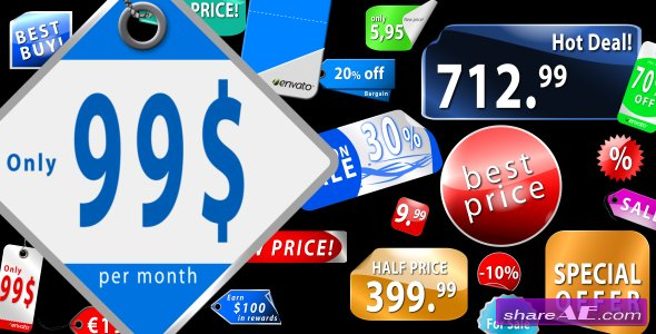 Videohive Collection of Sticker labels & Price tags (AE CS4)