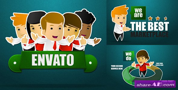 Videohive Corporate Sticker Cartoon with Kinetic Typo