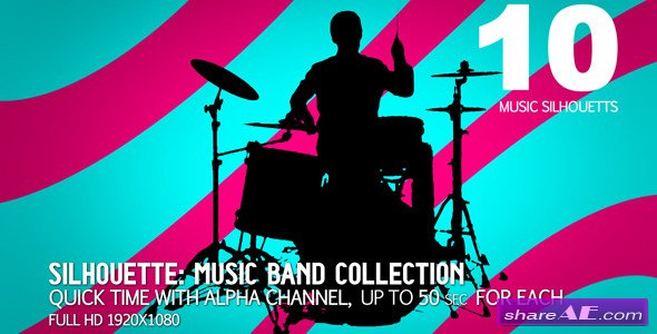 Videohive Music Band Collection 10 (sillhouettes) - Motion Graphics