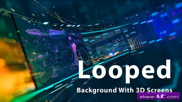 Videohive Looped Background With 3D Screens