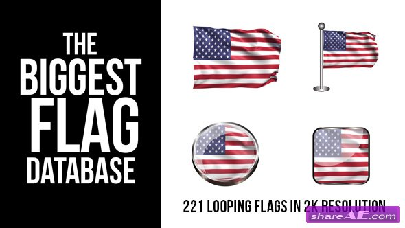 Videohive 221 Looping World Flags