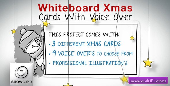 Videohive Whiteboard Xmas Cards With Voice Over