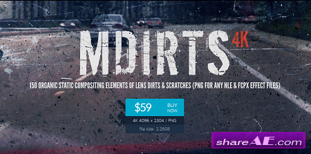 mDirts 4K - 150 Organic Static Compositing Elements of Lens Dirts & Scratches (motionVFX)