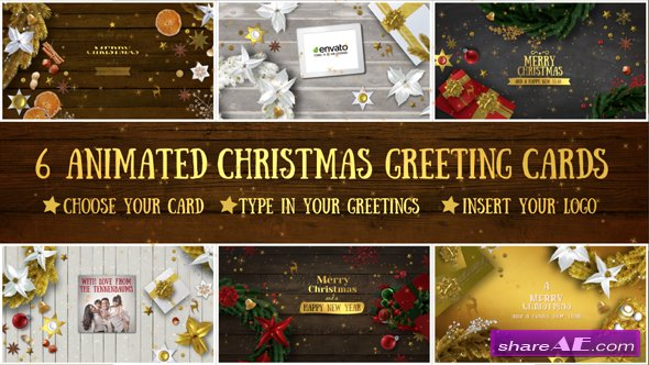 Videohive 6 Christmas Greeting Cards