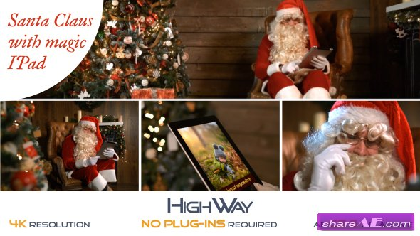 Videohive Santa Claus With Magic IPad