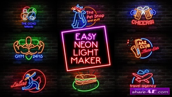 Videohive Easy Neon Lights Maker