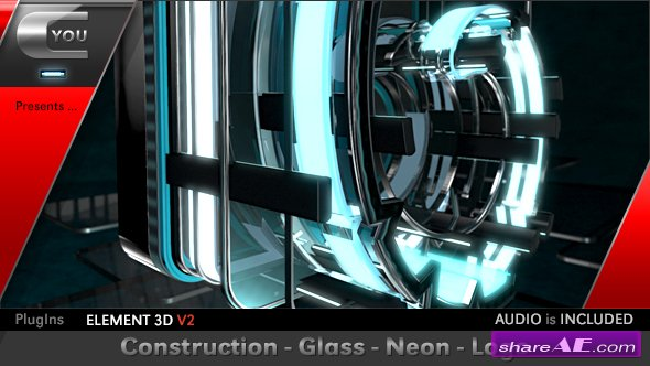 Videohive Construction Glass Neon Logo