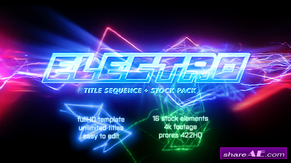 Videohive Electro - Electric Title Sequence + 16 Lighting Elements