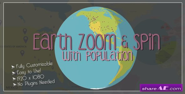 Videohive Earth Zoom and Spin with Population Template