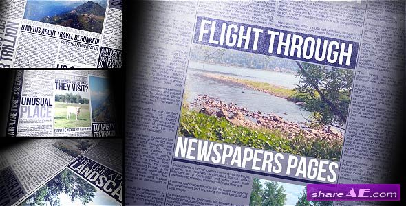 Videohive Flight Through Newspapers Pages