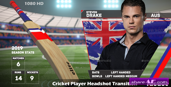 Videohive Cricket Player Headshot Transition