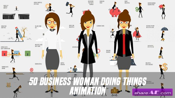 Videohive Business Woman Doing Things Animation