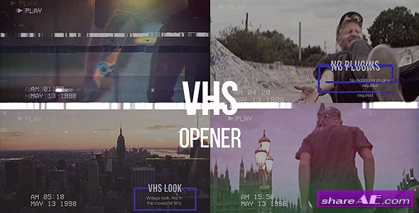 Videohive VHS Opener // Modern Glitch Slideshow » free after effects