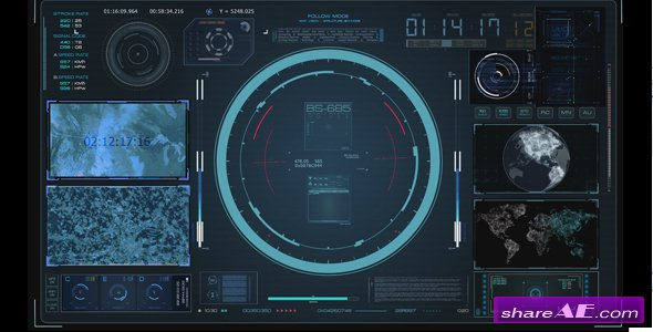 Videohive HUD Virtual Radar Hologram Interface System Cockpit - Motion Graphic
