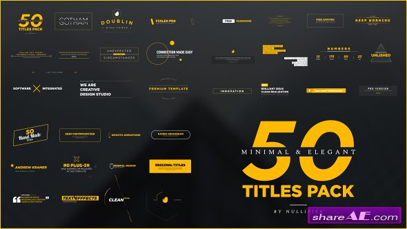 Videohive 50 Minimal & Elegant Titles Pack