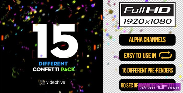 Videohive 15 Confetti Pack - Motion Graphic
