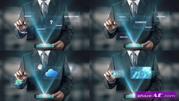 Videohive Hologram Businessman Screens