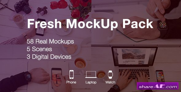 Videohive Fresh Mockup Pack // Phone, Laptop, Watch Devices