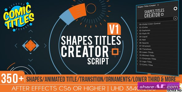 Videohive Shapes Titles Creator - After Effects Scripts