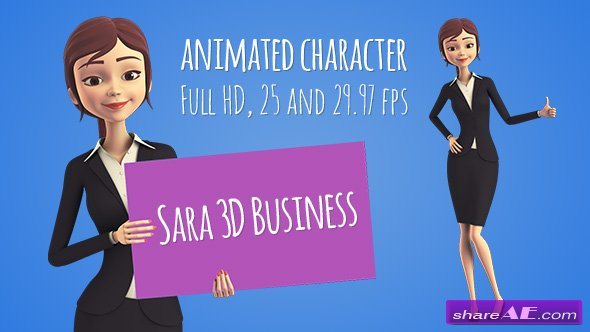 Videohive Sara 3D Character in Business Suit - Beautiful Woman Presenter/Manager