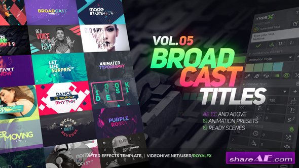 Videohive TypeX - Text Animation Tool | VOL.05: Broadcast Titles Pack