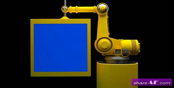 Robot and Monitor With Blue Screen - Stock Footage (Videohive)
