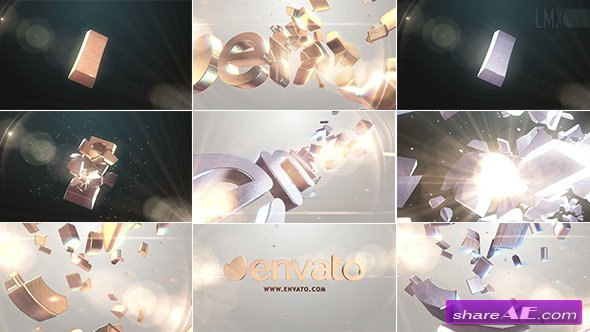 Videohive 3D Gold And Silver Shatter Logo