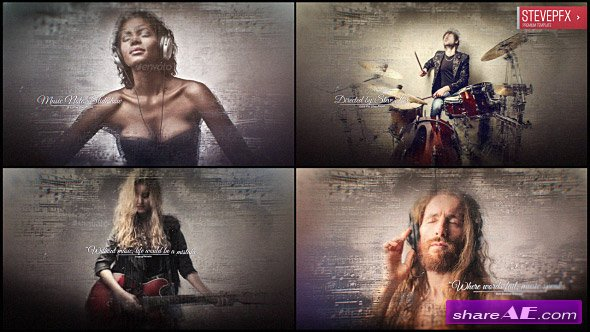 Videohive Music Notes Slideshow