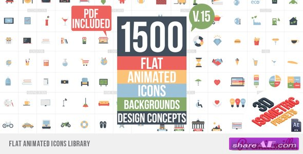 Videohive Flat Animated Icons Library v16