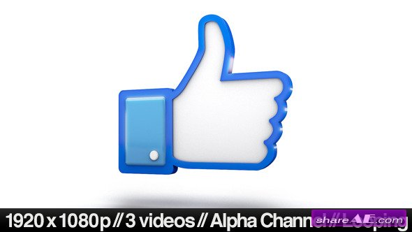 Videohive Facebook 3D Thumbs Up Like Icon - Motion Graphic