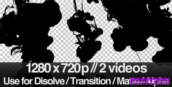 Videohive 2 Ink Flowing in Water Transition / Matte / Mask - Motion Graphic