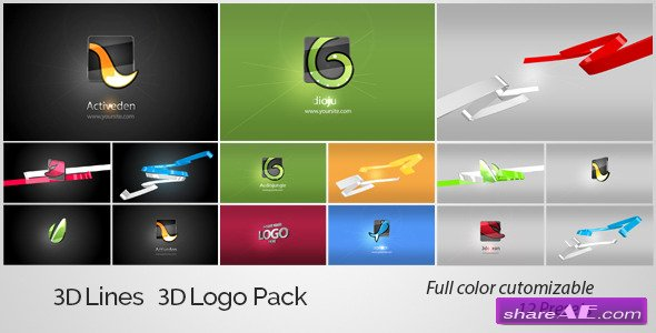 Videohive 3D Lines 3D Logo Pack