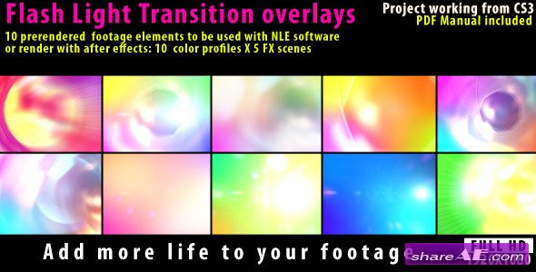 Videohive Flash Light Transition Overlay Lense Pack - Motion Graphics