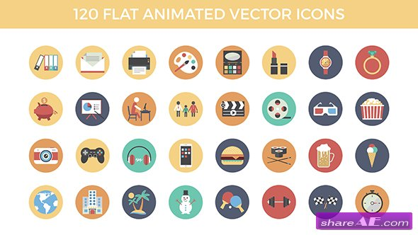 Videohive 120 Flat Animated Vector Icons